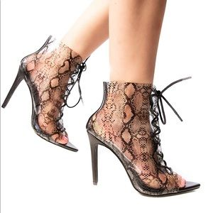 Black snake clear stiletto heel